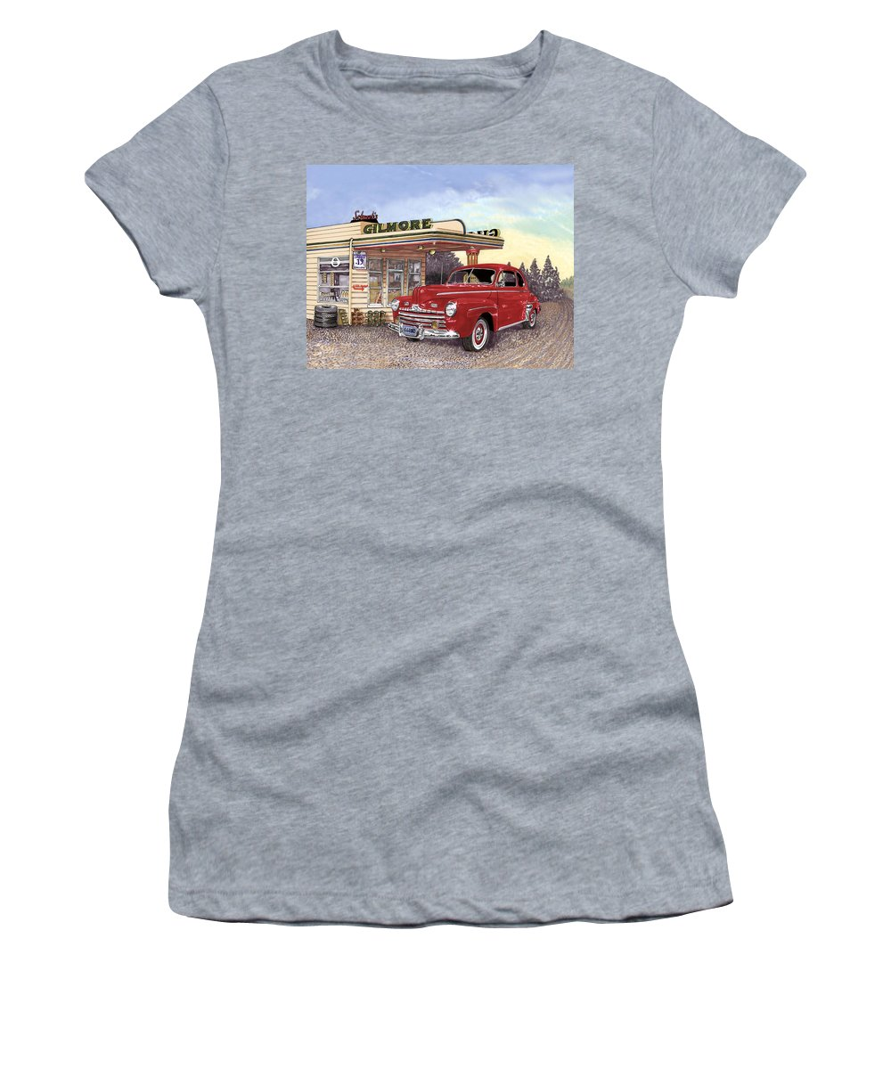 1946 Ford Deluxe Coupe Art Women's T-Shirt (Athletic Fit) featuring the painting 1946 Ford Deluxe Coupe by Jack Pumphrey