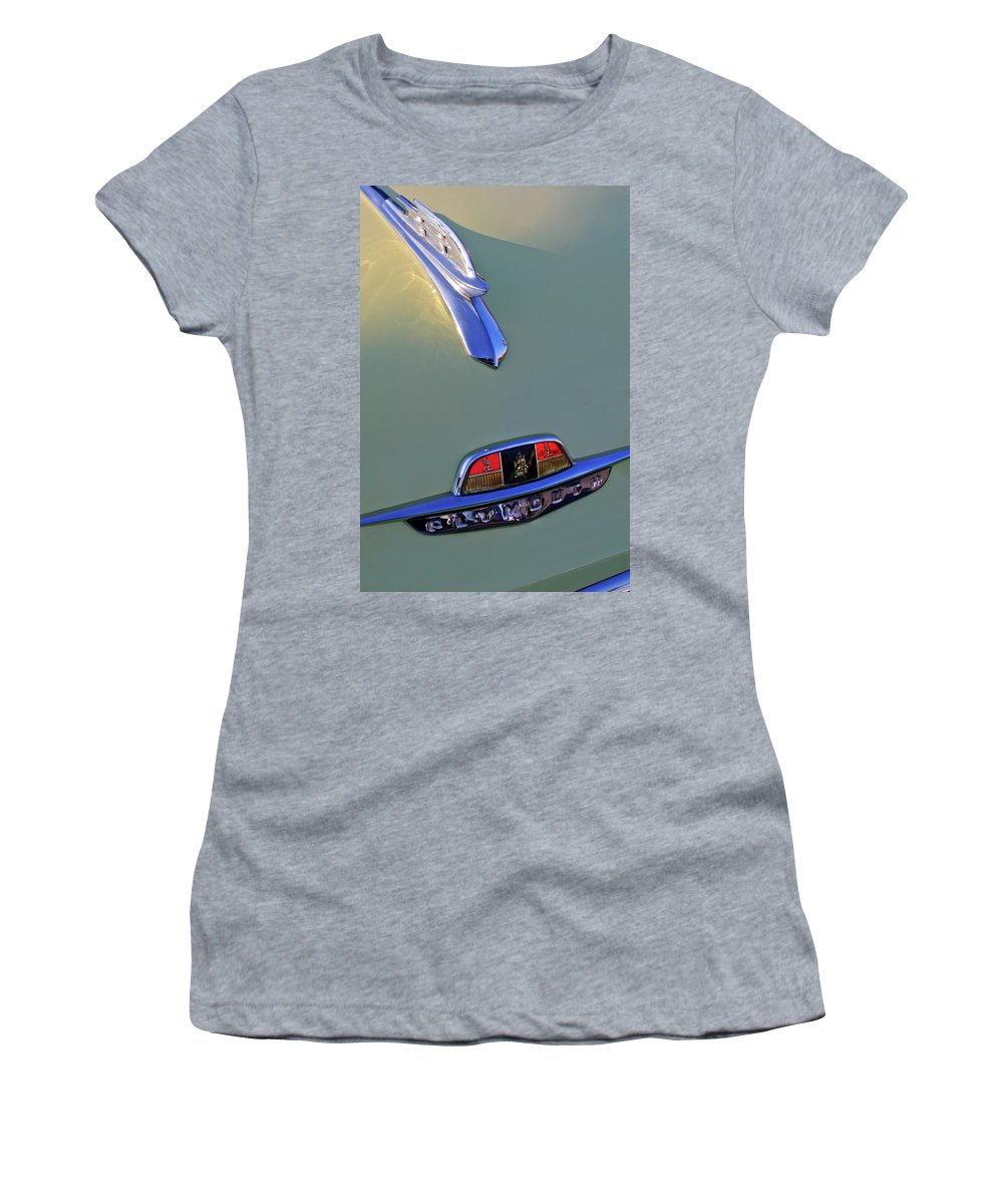 1953 Plymouth Women's T-Shirt featuring the photograph 1953 Plymouth Hood Ornament by Jill Reger