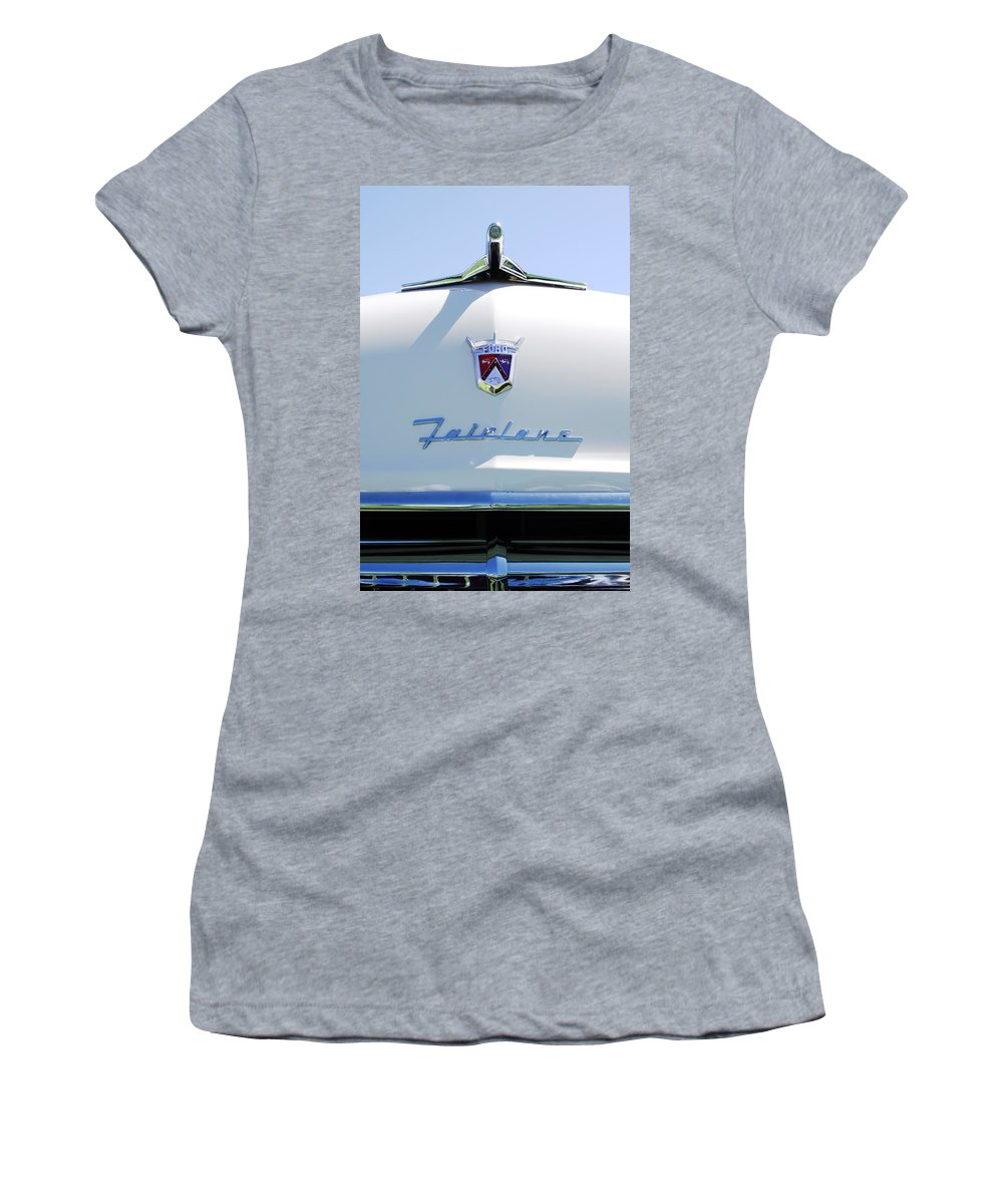 Car Women's T-Shirt (Athletic Fit) featuring the photograph 1955 Ford Fairland Hood Ornament by Jill Reger