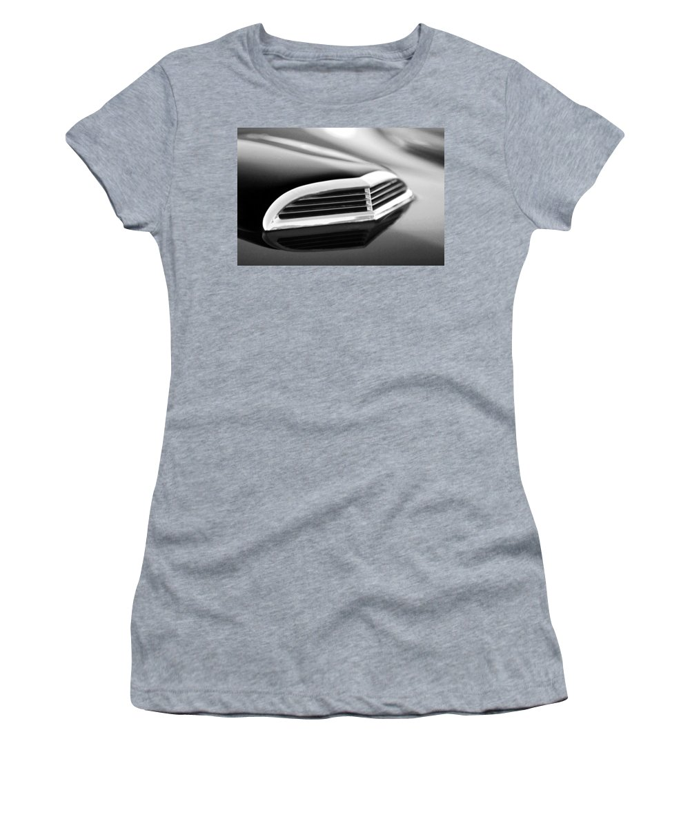 Transportation Women's T-Shirt (Athletic Fit) featuring the photograph 1957 Thunderbird Scoop Black And White by Jill Reger