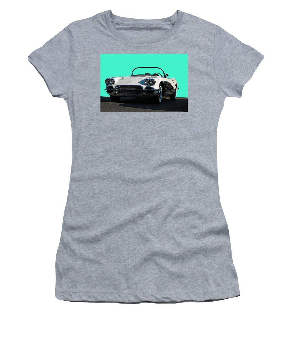 Corvette Women's T-Shirt (Athletic Fit) featuring the photograph 1962 Corvette by Robert Meanor