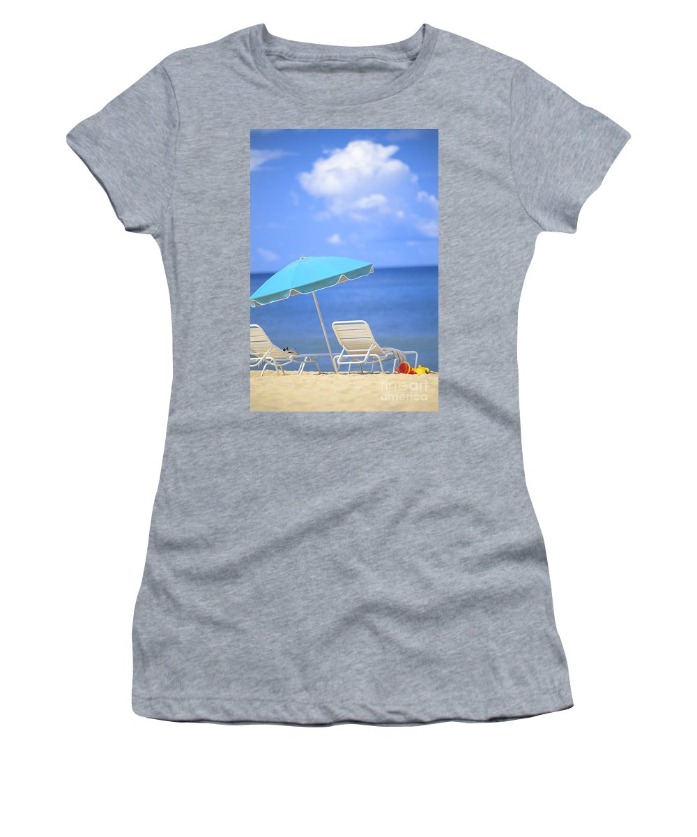 Afternoon Women's T-Shirt featuring the photograph Beach Chairs by Dana Edmunds - Printscapes