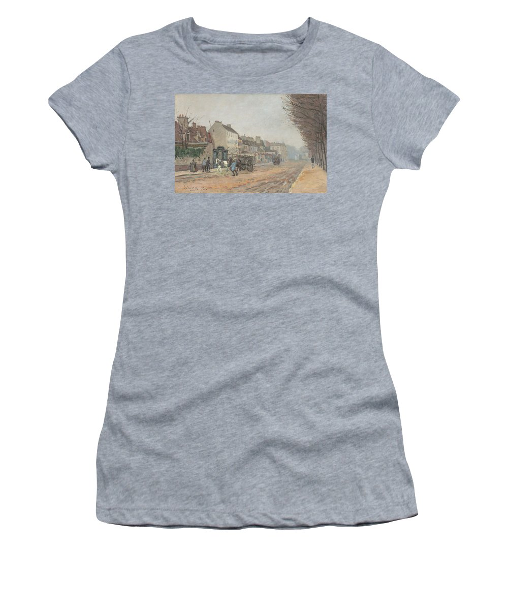 Alfred Sisley Women's T-Shirt (Athletic Fit) featuring the painting Boulevard Heloise Argenteuil by Alfred Sisley