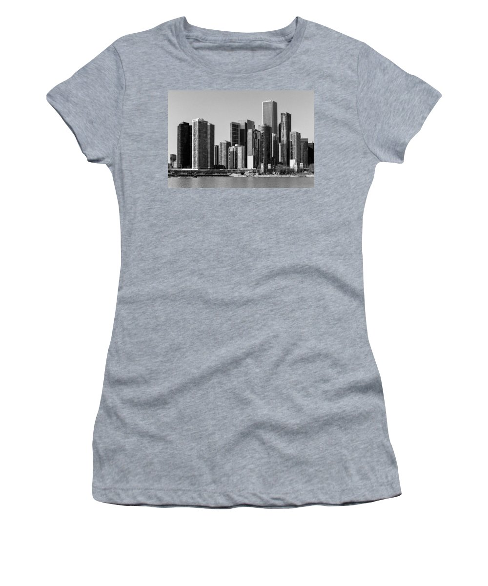 Chicago Women's T-Shirt featuring the photograph Chicago Skyline In Black And White by Terri Morris