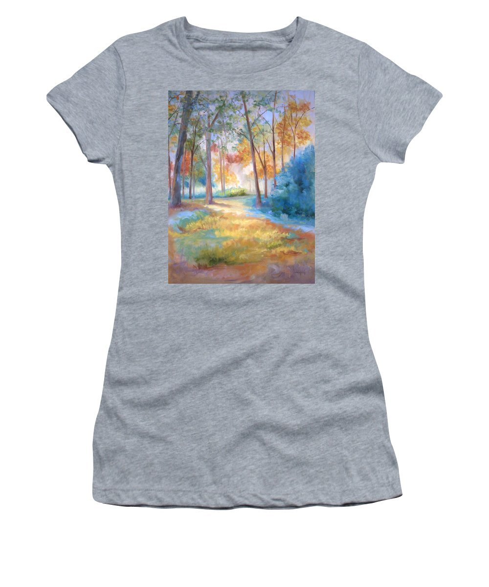 Wooded Paths Women's T-Shirt (Athletic Fit) featuring the painting Homeward by Ginger Concepcion