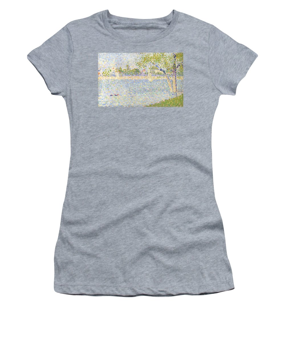 Georges Women's T-Shirt (Athletic Fit) featuring the digital art The Seine Seen From La Grande Jatte by PixBreak Art