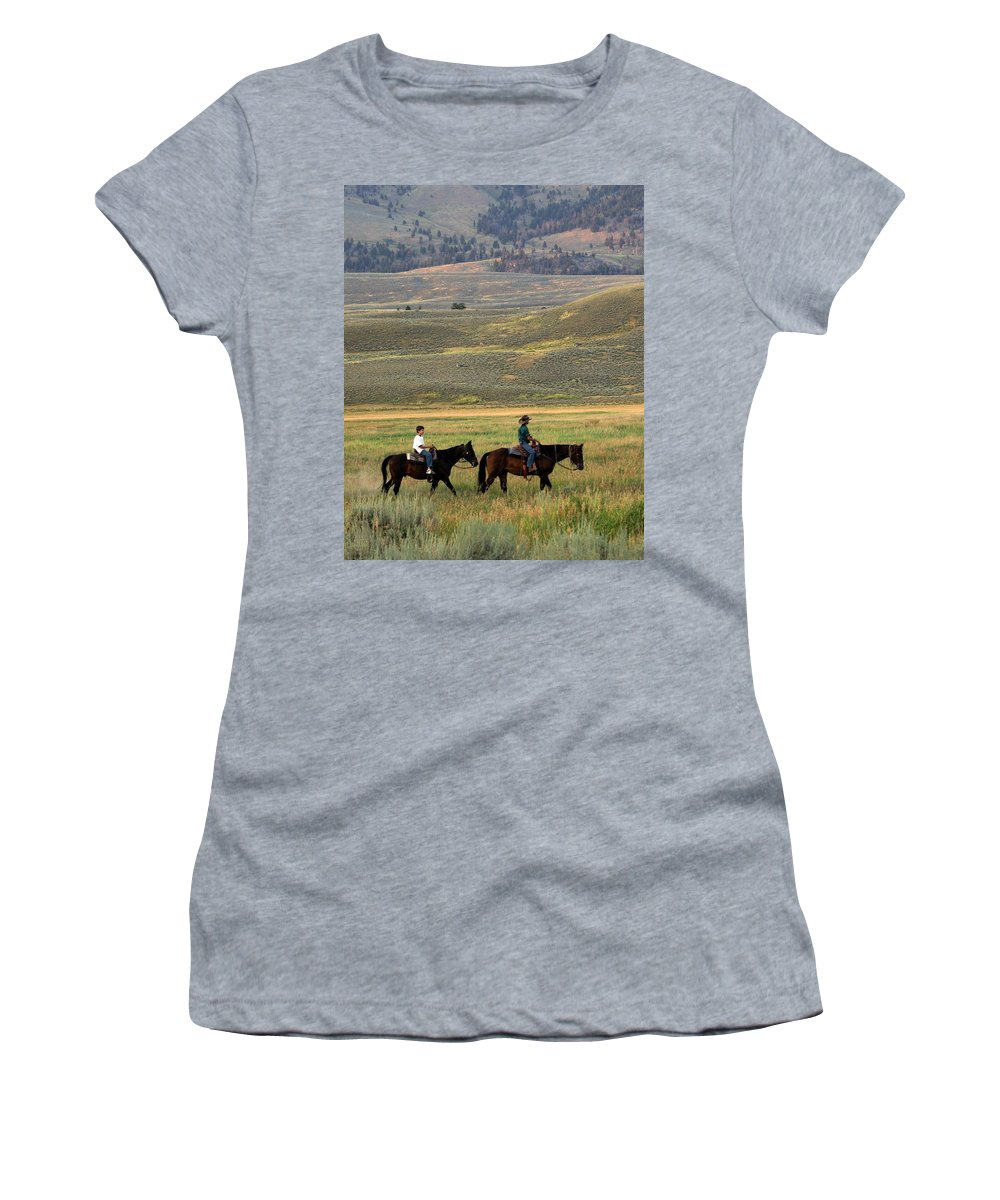 Horse Women's T-Shirt (Athletic Fit) featuring the photograph Trail Ride by Marty Koch