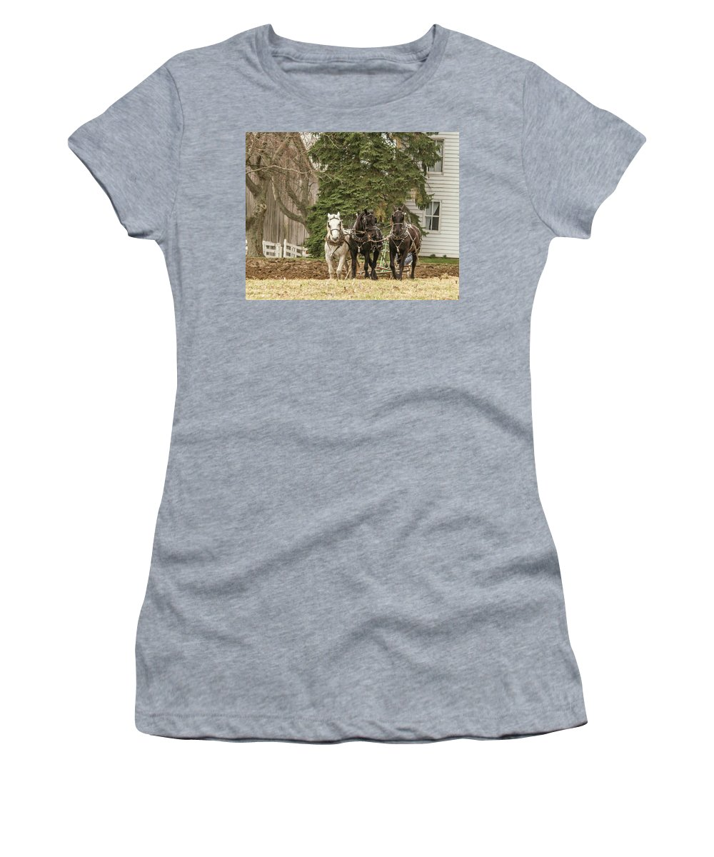 Amish Women's T-Shirt (Athletic Fit) featuring the photograph 2017 03 25 012 by Neil Smilek
