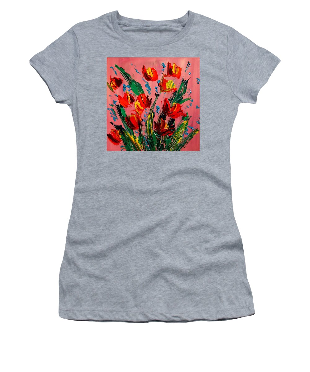 Surreal Framed Prints Women's T-Shirt (Athletic Fit) featuring the painting Tulips by Mark Kazav