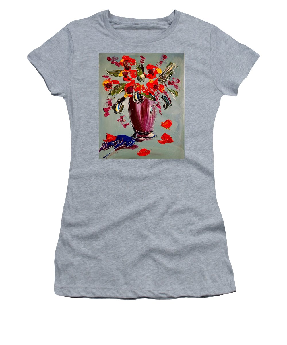 Newyork Women's T-Shirt (Athletic Fit) featuring the painting Flowers by Mark Kazav