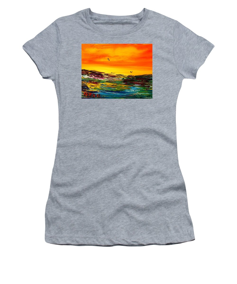 Surreal Framed Prints Women's T-Shirt (Athletic Fit) featuring the painting Seascape by Mark Kazav
