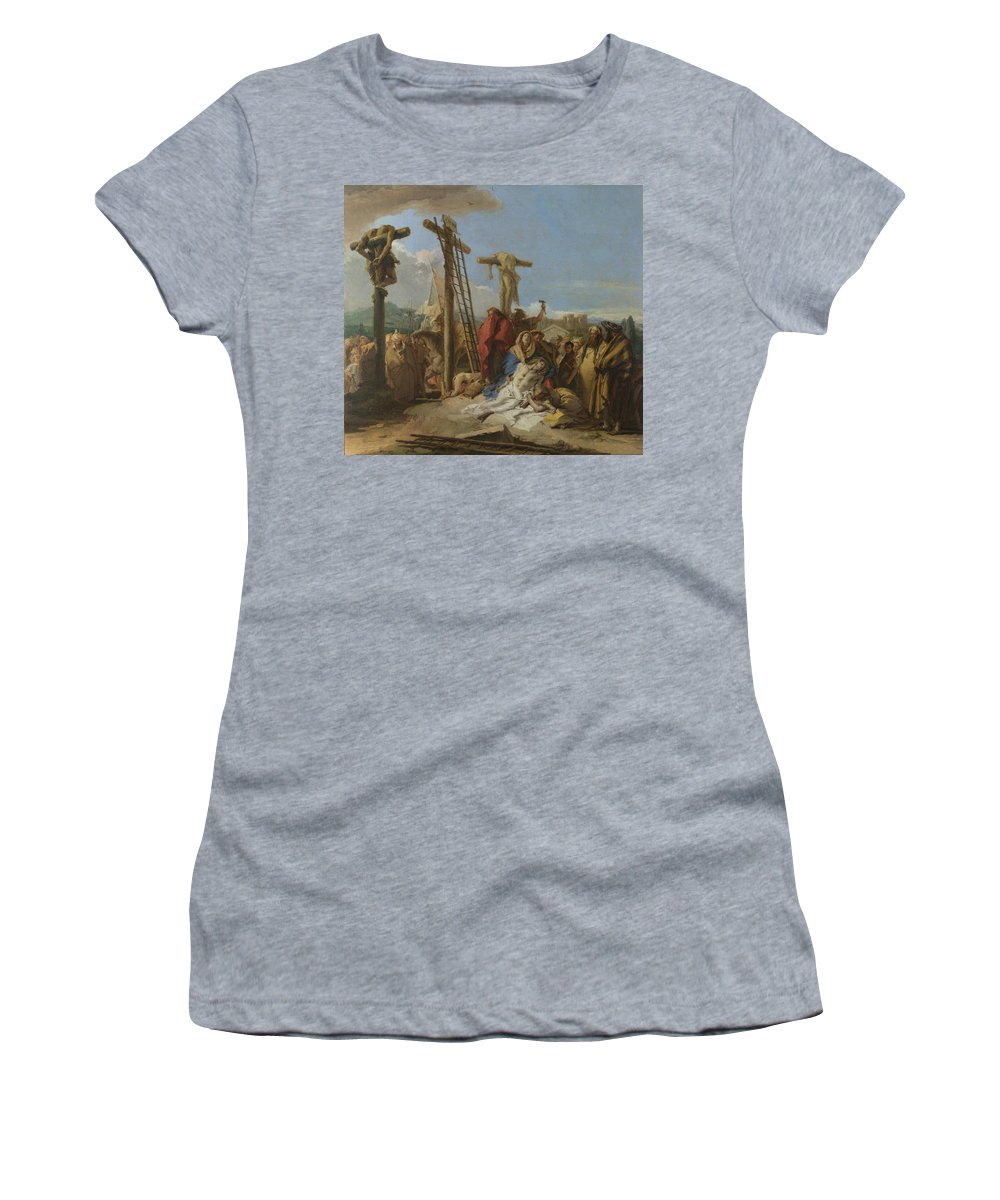 Giovanni Women's T-Shirt (Athletic Fit) featuring the digital art The Lamentation At The Foot Of The Cross by PixBreak Art