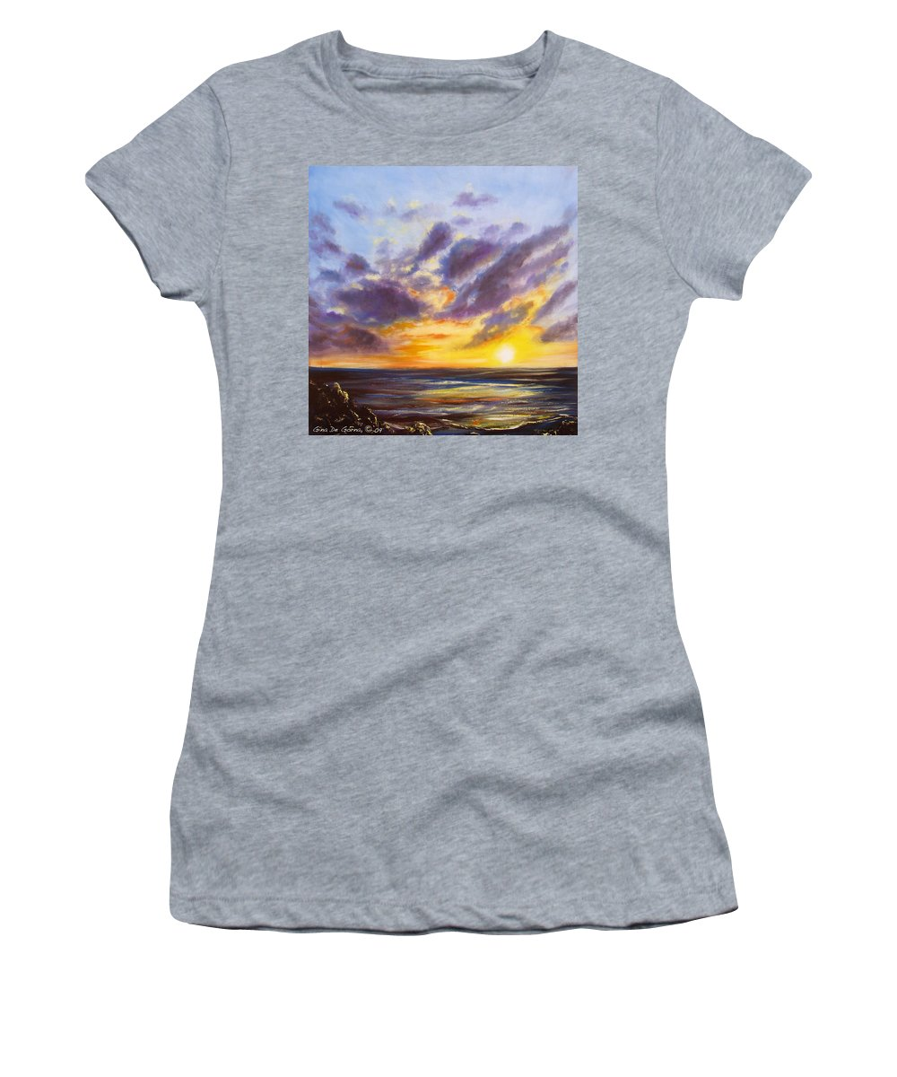 Tropical Women's T-Shirt featuring the painting Tropical Sunset by Gina De Gorna