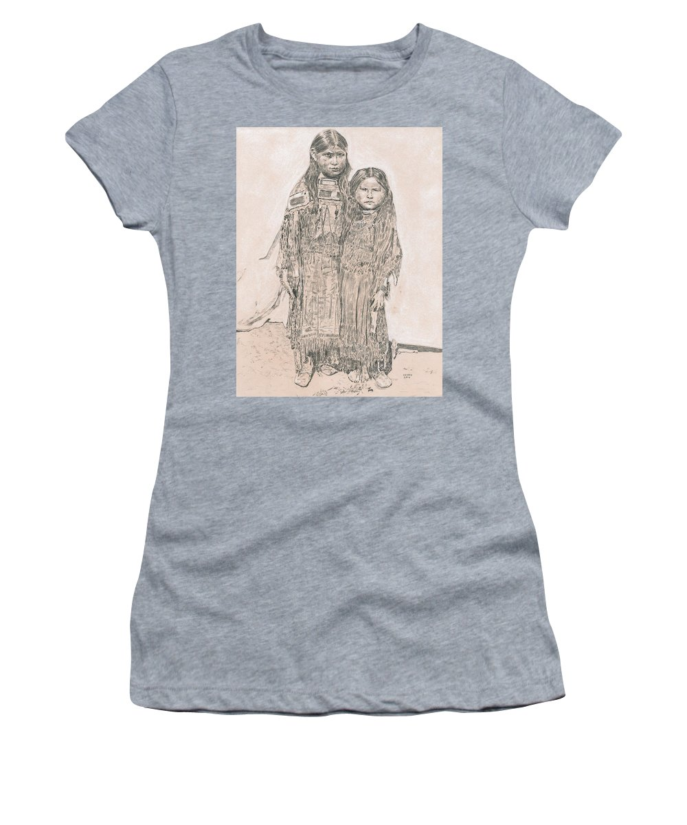 Young Comanche Girls Women's T-Shirt featuring the drawing Young Comanche Girls by Dennis Larson