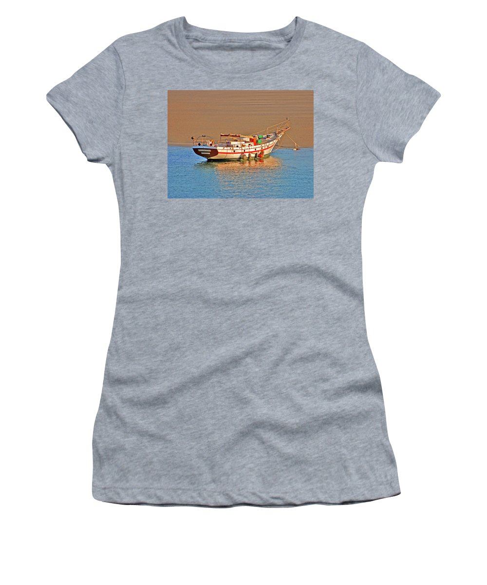 Sailboat Women's T-Shirt (Athletic Fit) featuring the digital art 32- New Horizons by Joseph Keane