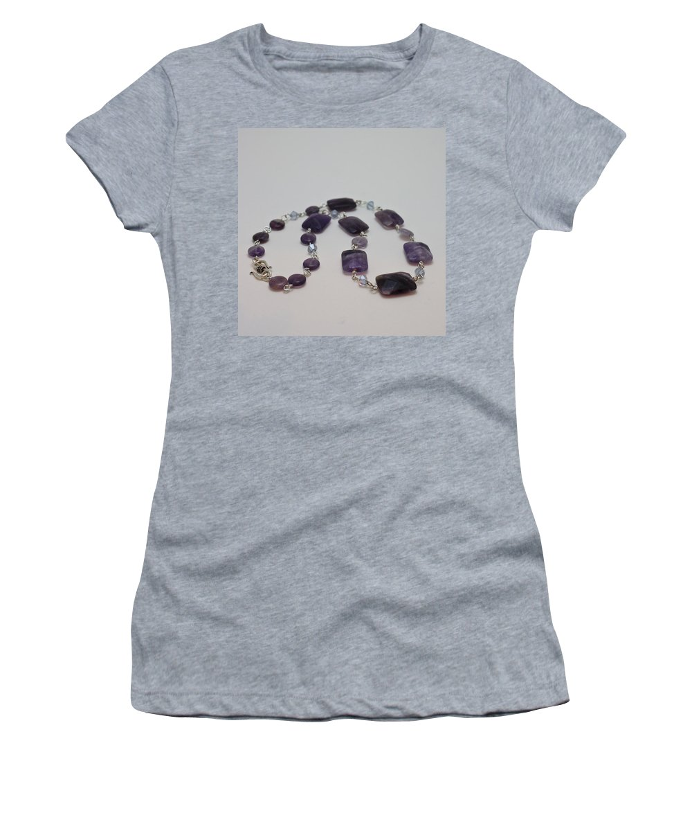 Handmade Women's T-Shirt (Athletic Fit) featuring the jewelry 3575 Amethyst Necklace by Teresa Mucha