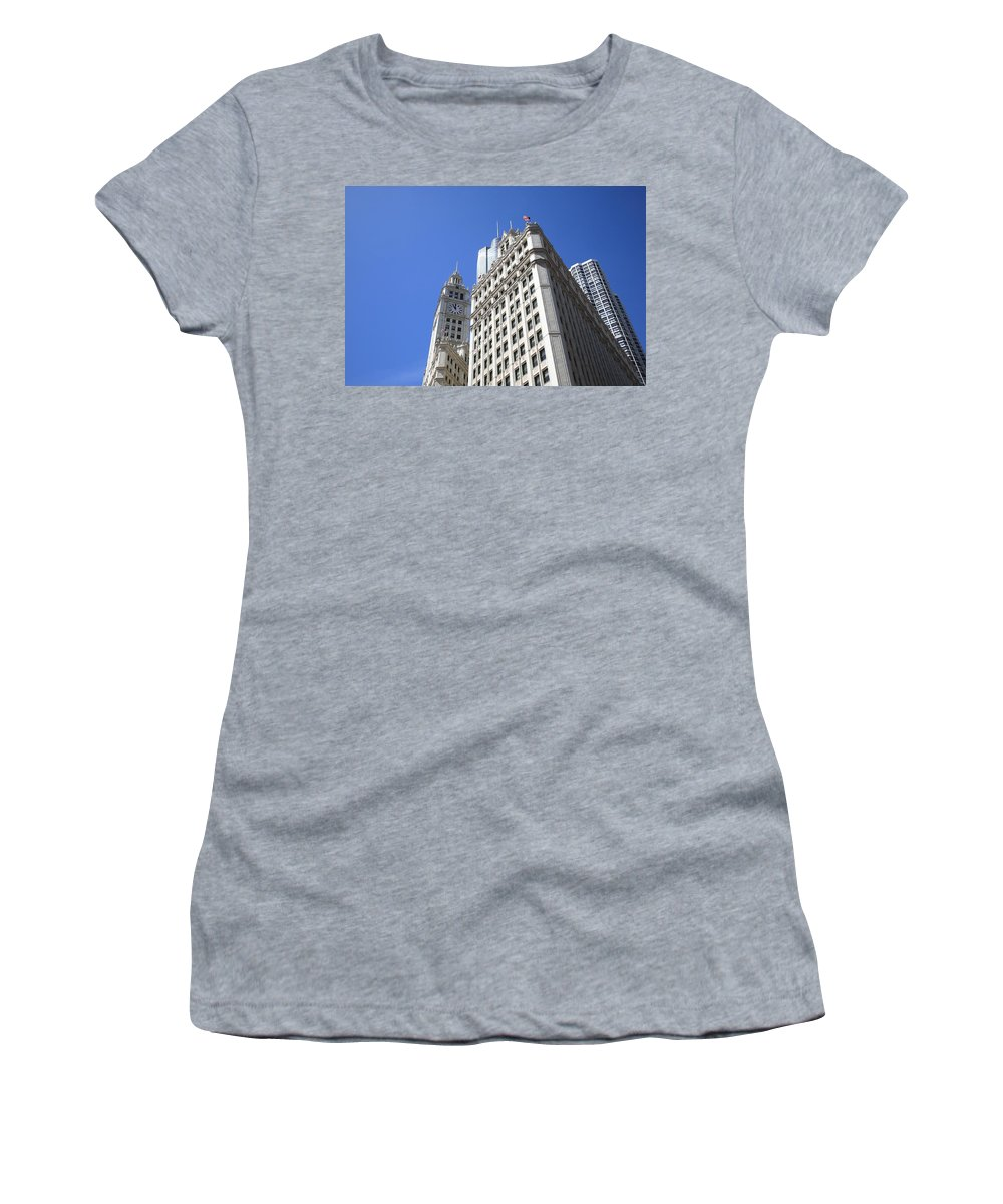 America Women's T-Shirt (Athletic Fit) featuring the photograph Chicago Skyline by Frank Romeo