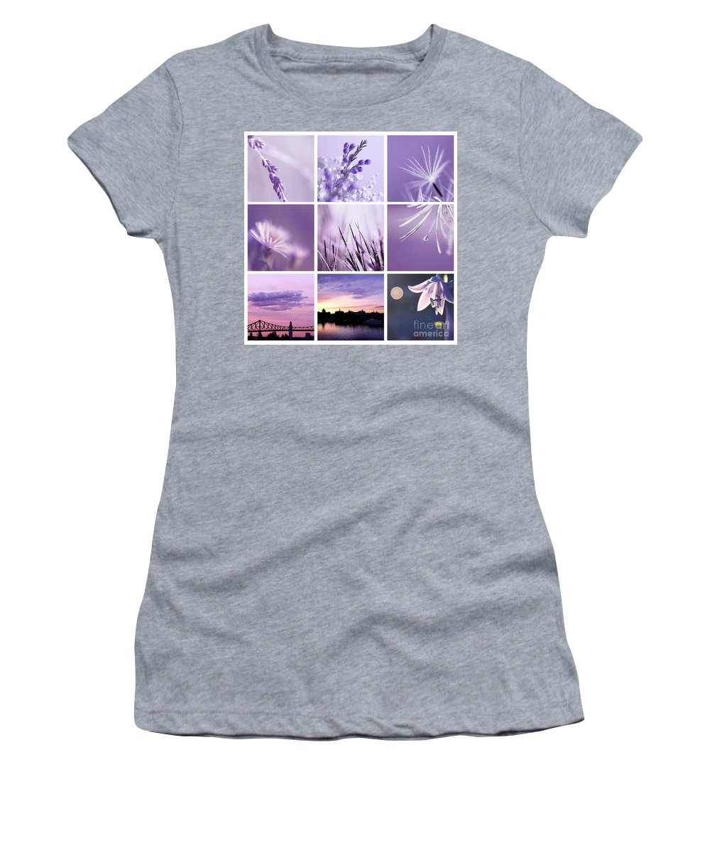 Purple Women's T-Shirt (Athletic Fit) featuring the photograph 3x3 Purple by Aimelle