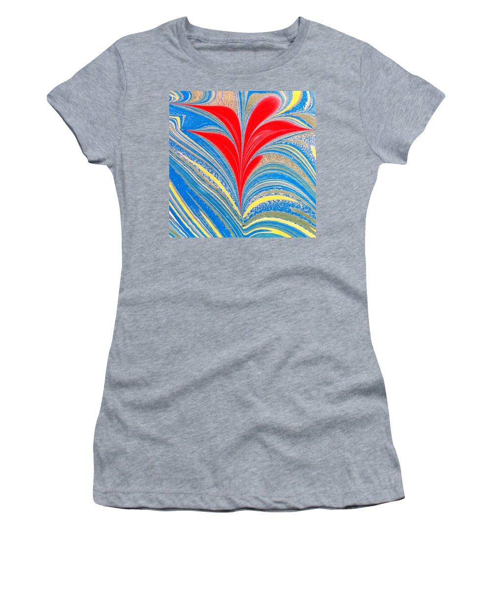 Flower Women's T-Shirt featuring the painting Water Marbling Art, Ebru by Dilan C