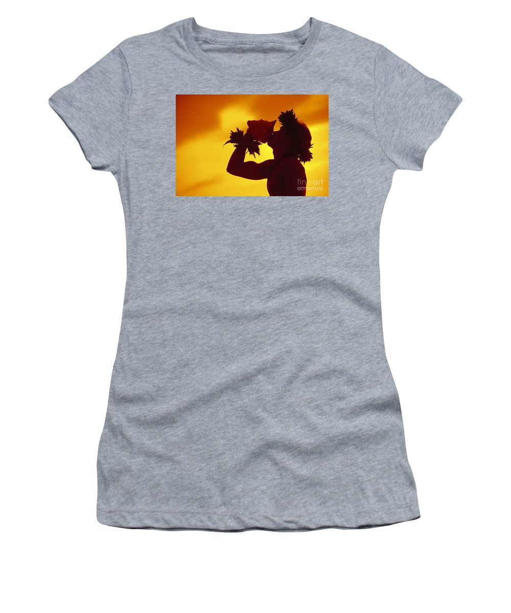 Blow Women's T-Shirt (Athletic Fit) featuring the photograph Conch Shell Blower by Ron Dahlquist - Printscapes