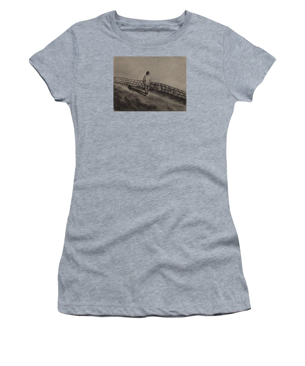 Charcoal Women's T-Shirt featuring the drawing Untitled by Ioulia Sotiriou