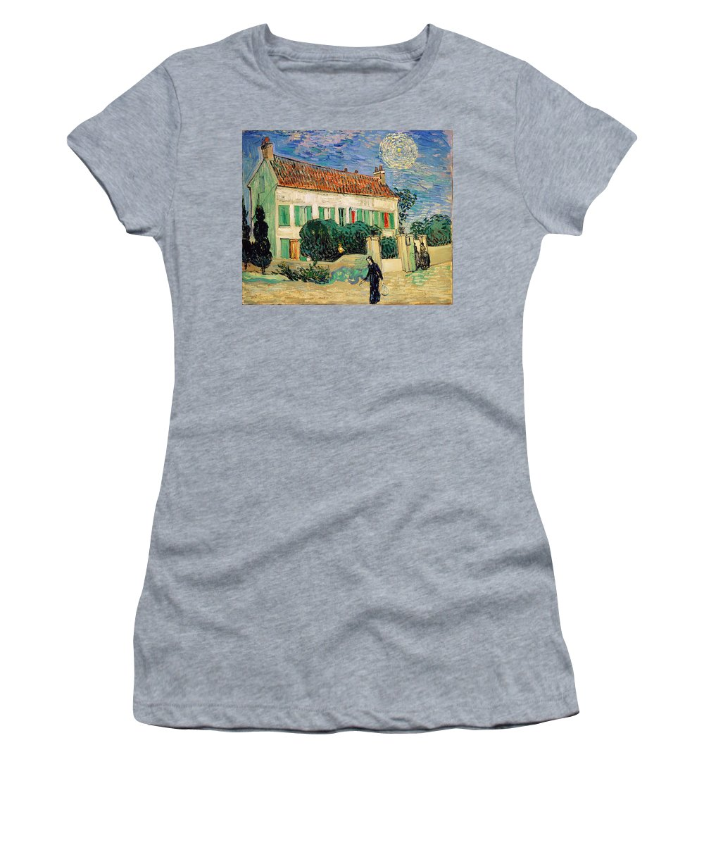 Vincent Van Gogh Women's T-Shirt featuring the painting White House At Night by Vincent Van Gogh
