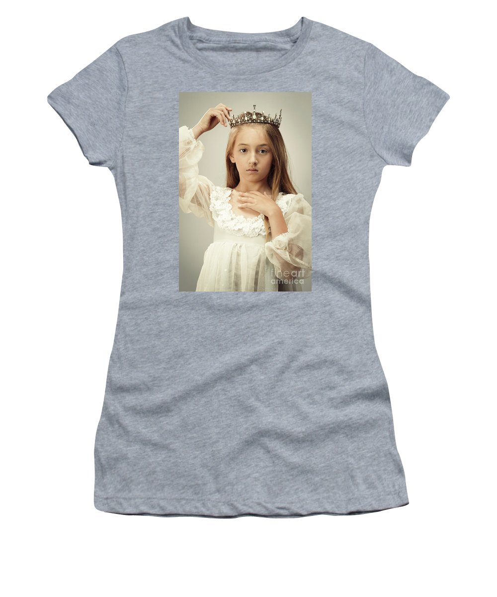 Young Women's T-Shirt (Athletic Fit) featuring the photograph Young Girl Wearing A Crown by Amanda Elwell