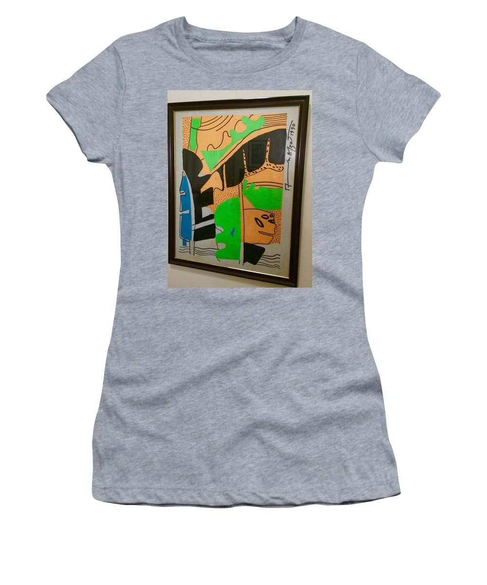 Women's T-Shirt (Athletic Fit) featuring the painting Untitled by Muhammad Ali Afzal Jalwana