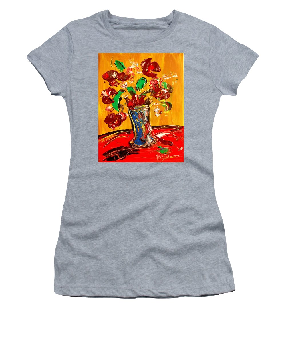 Landscape Framed Prints Women's T-Shirt (Athletic Fit) featuring the painting Flowers by Mark Kazav