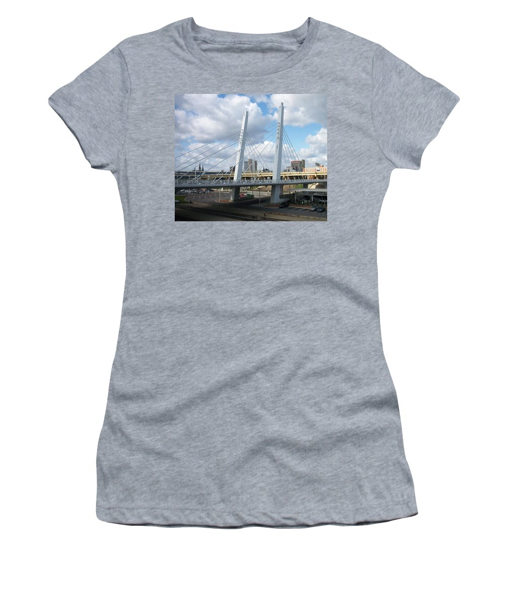 Bridge Women's T-Shirt (Athletic Fit) featuring the photograph 6th Street Bridge by Anita Burgermeister