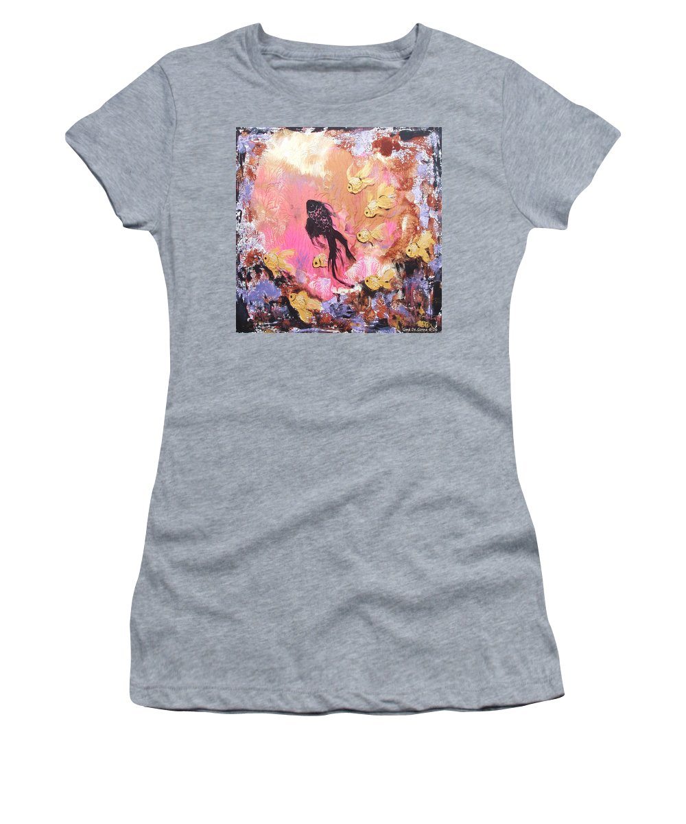 Fish Women's T-Shirt (Athletic Fit) featuring the painting 8 Gold Fish by Gina De Gorna