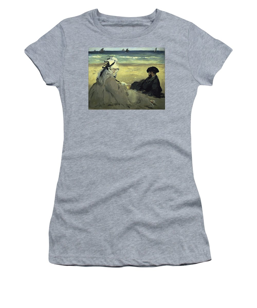French Painters Women's T-Shirt featuring the painting On The Beach by Edouard Manet