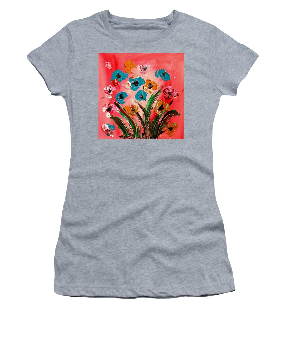 Coffeee Women's T-Shirt (Athletic Fit) featuring the painting Flowers by Mark Kazav