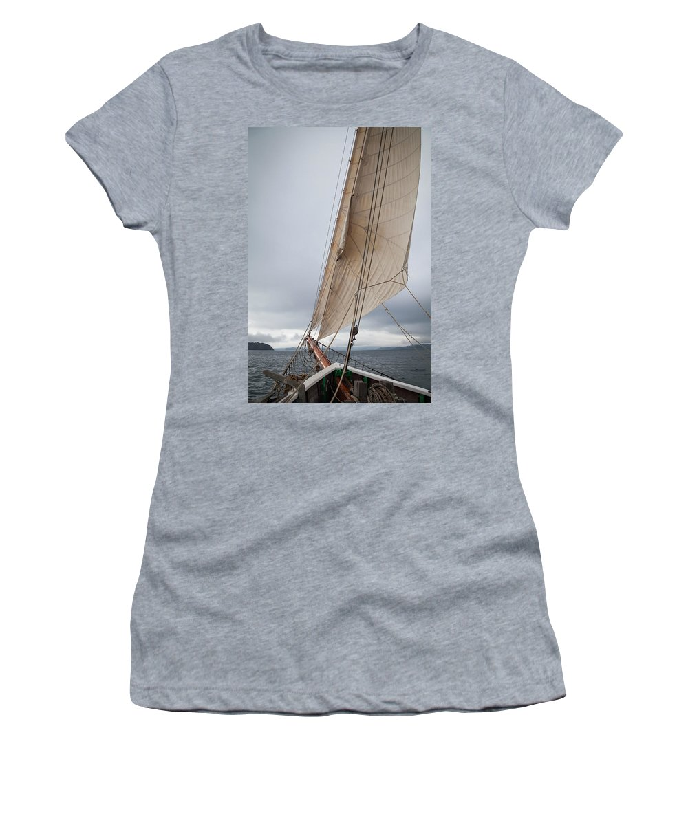 New Women's T-Shirt (Athletic Fit) featuring the photograph Rigg Of A Tall Ship by Hartmut Albert