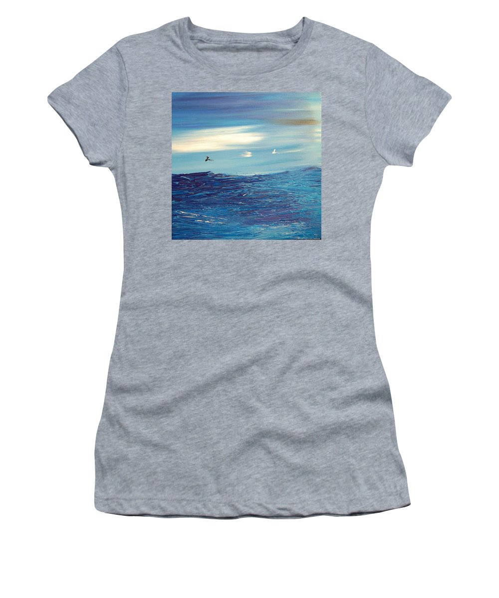 Landscape Framed Prints Women's T-Shirt (Athletic Fit) featuring the painting Seascape by Mark Kazav