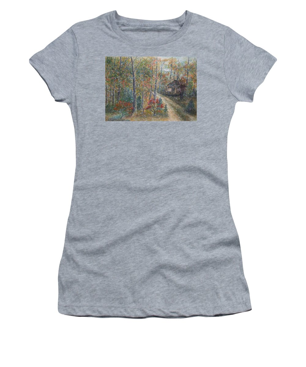 Country Road; Old House; Trees Women's T-Shirt featuring the painting A Bend in the Road by Ben Kiger