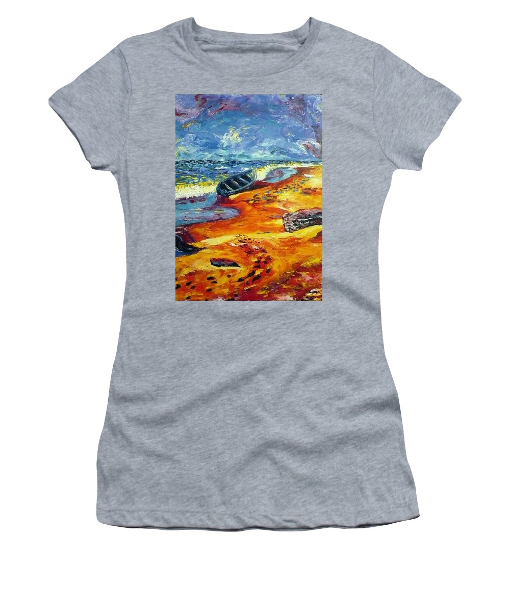 Landscape Women's T-Shirt (Athletic Fit) featuring the painting A Canoe At The Beach by Ericka Herazo