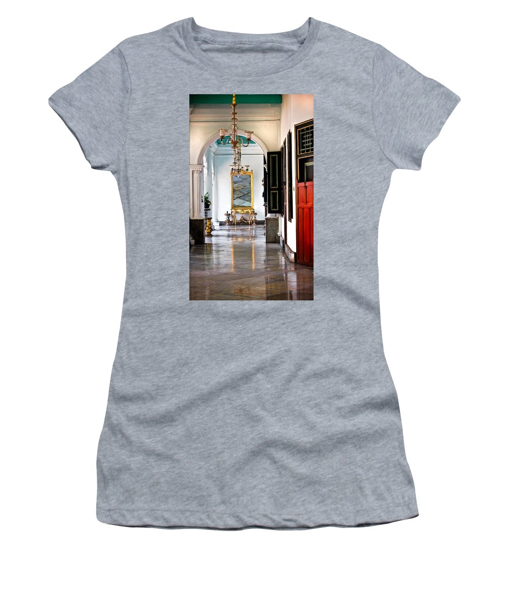 Historical Women's T-Shirt featuring the photograph A Corridor In Keraton Sultan Palace Yogyakarta by Charuhas Images