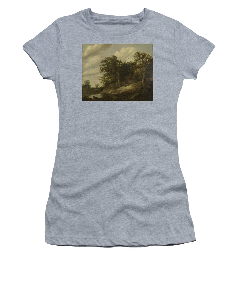 Cornelis Women's T-Shirt (Athletic Fit) featuring the digital art A Cottage Among Trees On The Bank Of A Stream by PixBreak Art