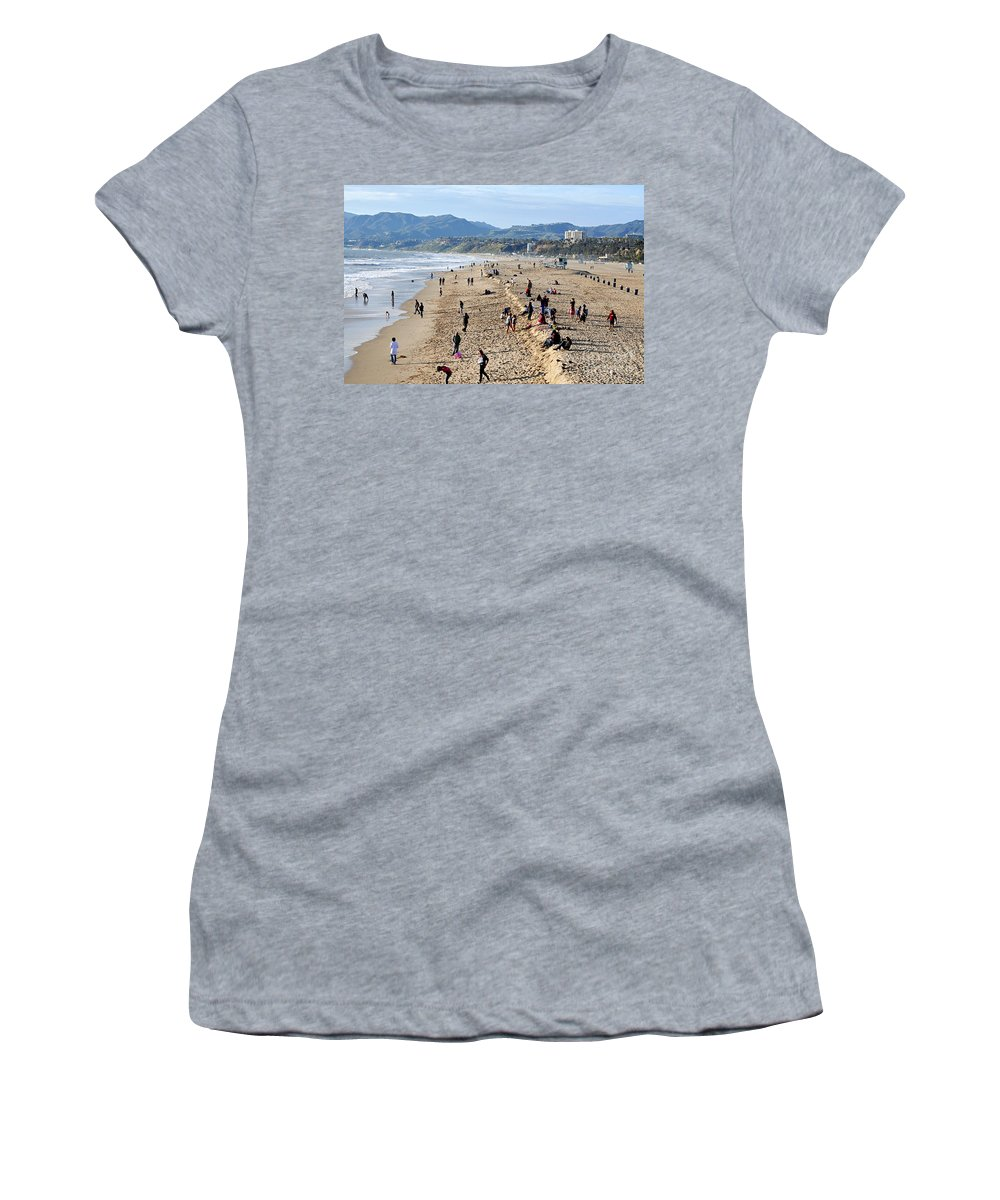 Clay Women's T-Shirt featuring the photograph A Day At The Beach In Santa Monica by Clayton Bruster