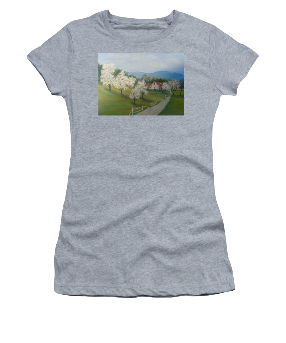 Landscape; Spring; Mountains; Country Road; House Women's T-Shirt featuring the painting A Day in the Country by Ben Kiger