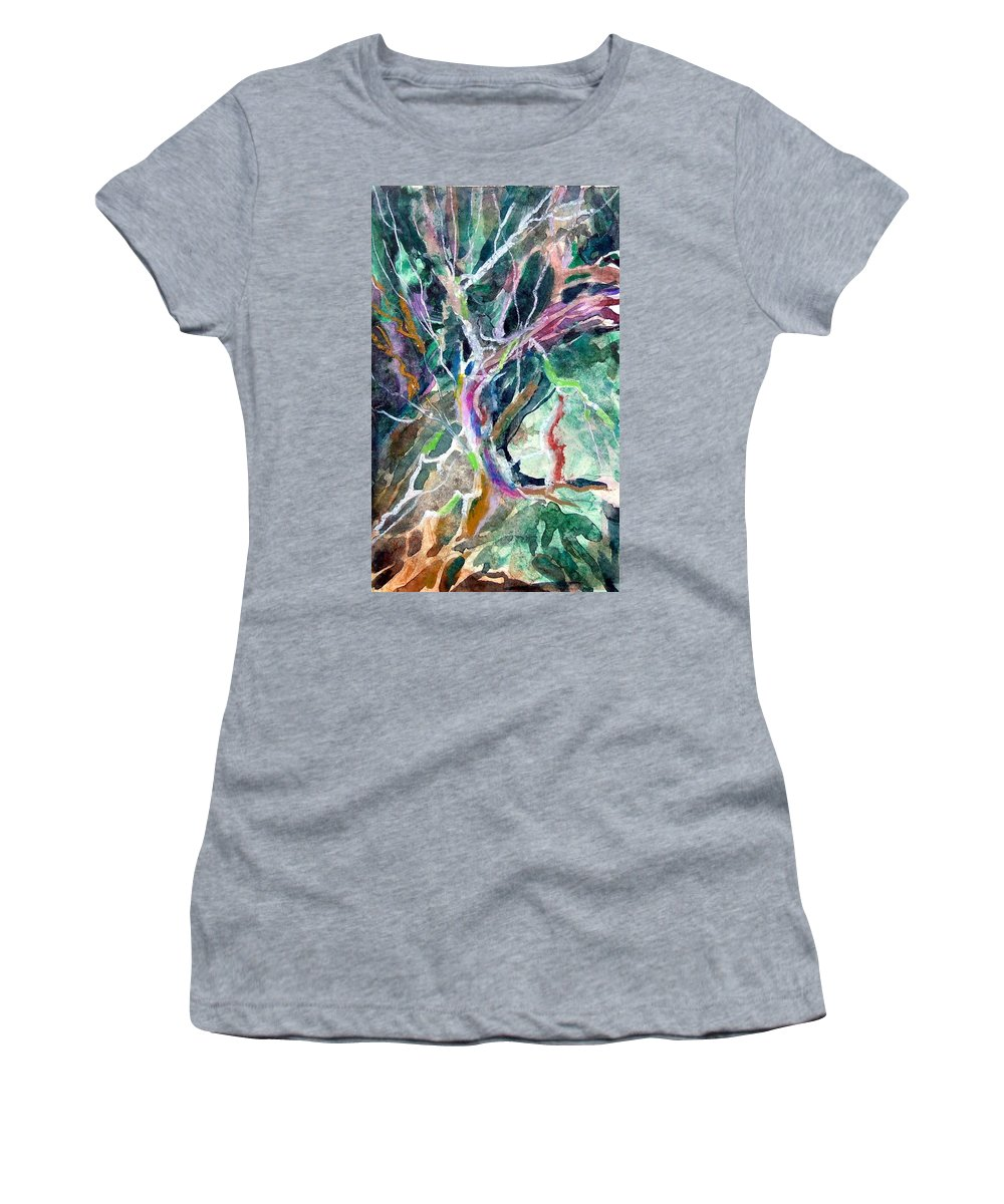 Tree Women's T-Shirt (Athletic Fit) featuring the painting A Dying Tree by Mindy Newman