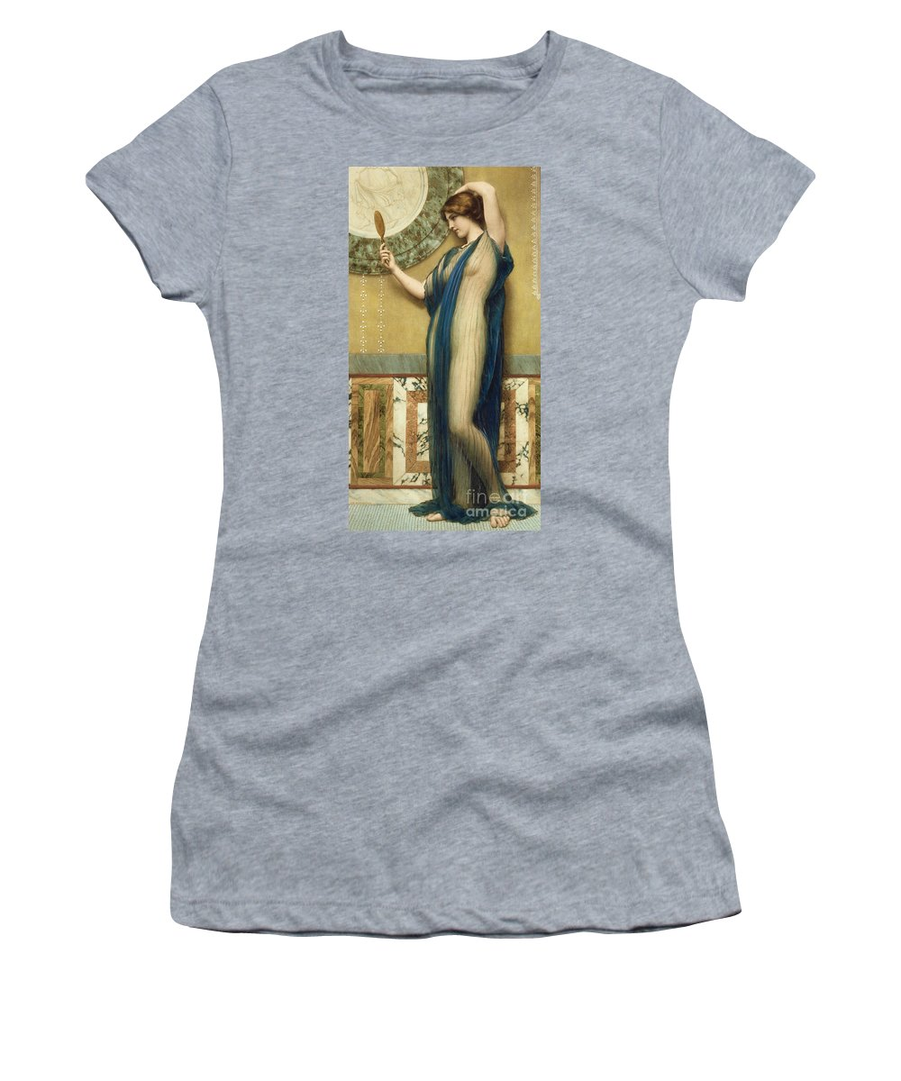 A Fair Reflection (hand Colored Photo-engraving) By John William Godward (1861-1922) (after) Mirror; Marble; Nude; Looking Glass; Female; Classical; Vain Women's T-Shirt featuring the painting A Fair Reflection by John William Godward