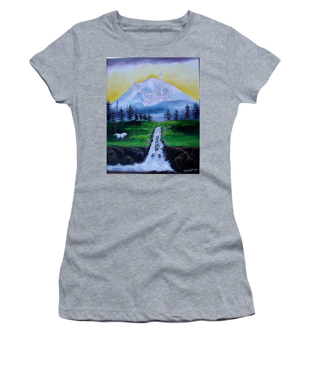 Landscape Women's T-Shirt featuring the painting A Fairytale by Glory Fraulein Wolfe