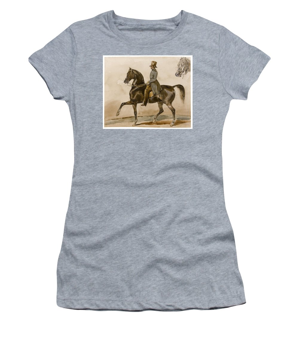 Theodore Gericault Women's T-Shirt (Athletic Fit) featuring the drawing A Gentleman On Horseback With A Subsidiary Study Of The Horse's Head by Theodore Gericault