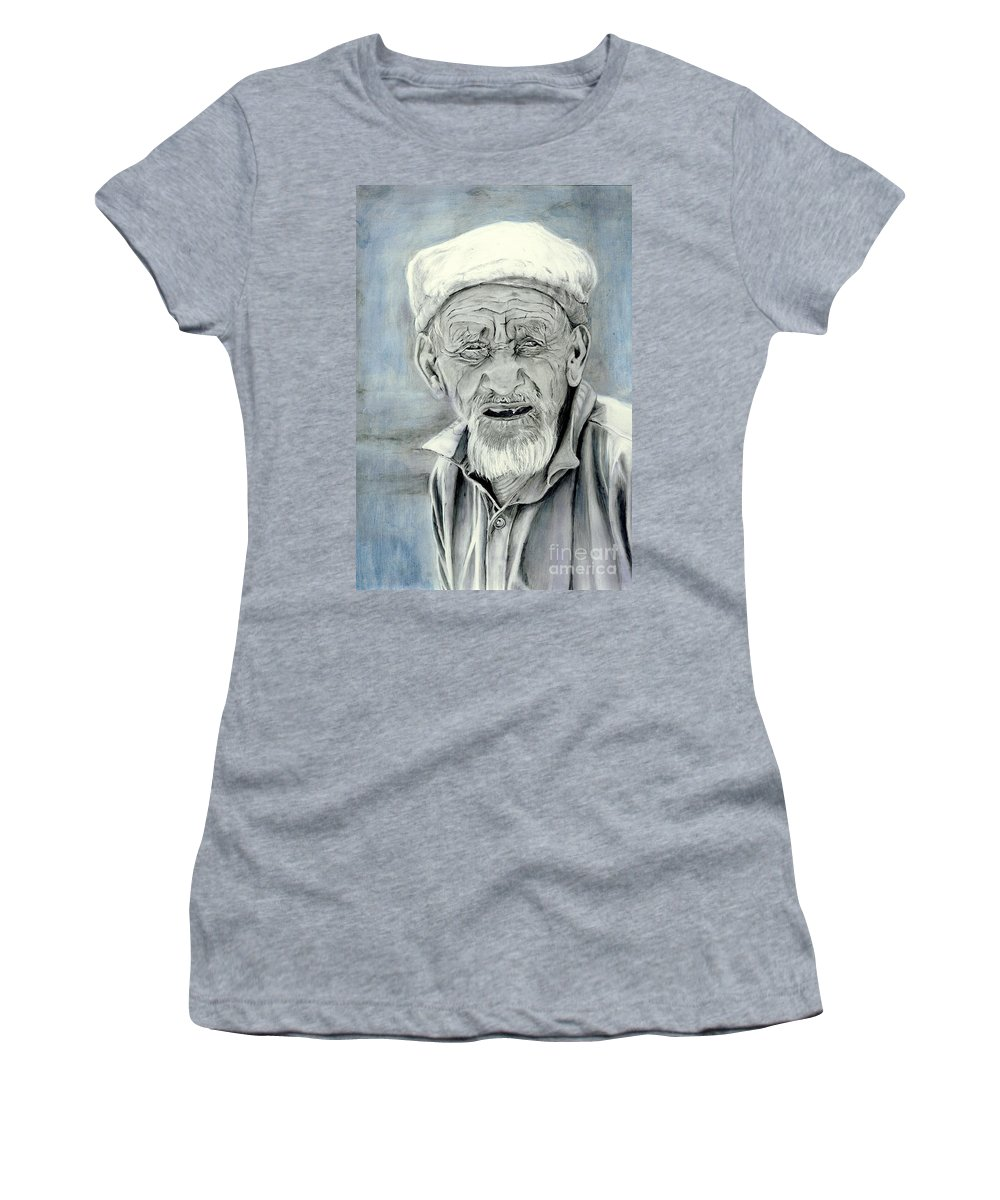 Figurative Art Women's T-Shirt (Athletic Fit) featuring the painting A Life Time by Portraits By NC