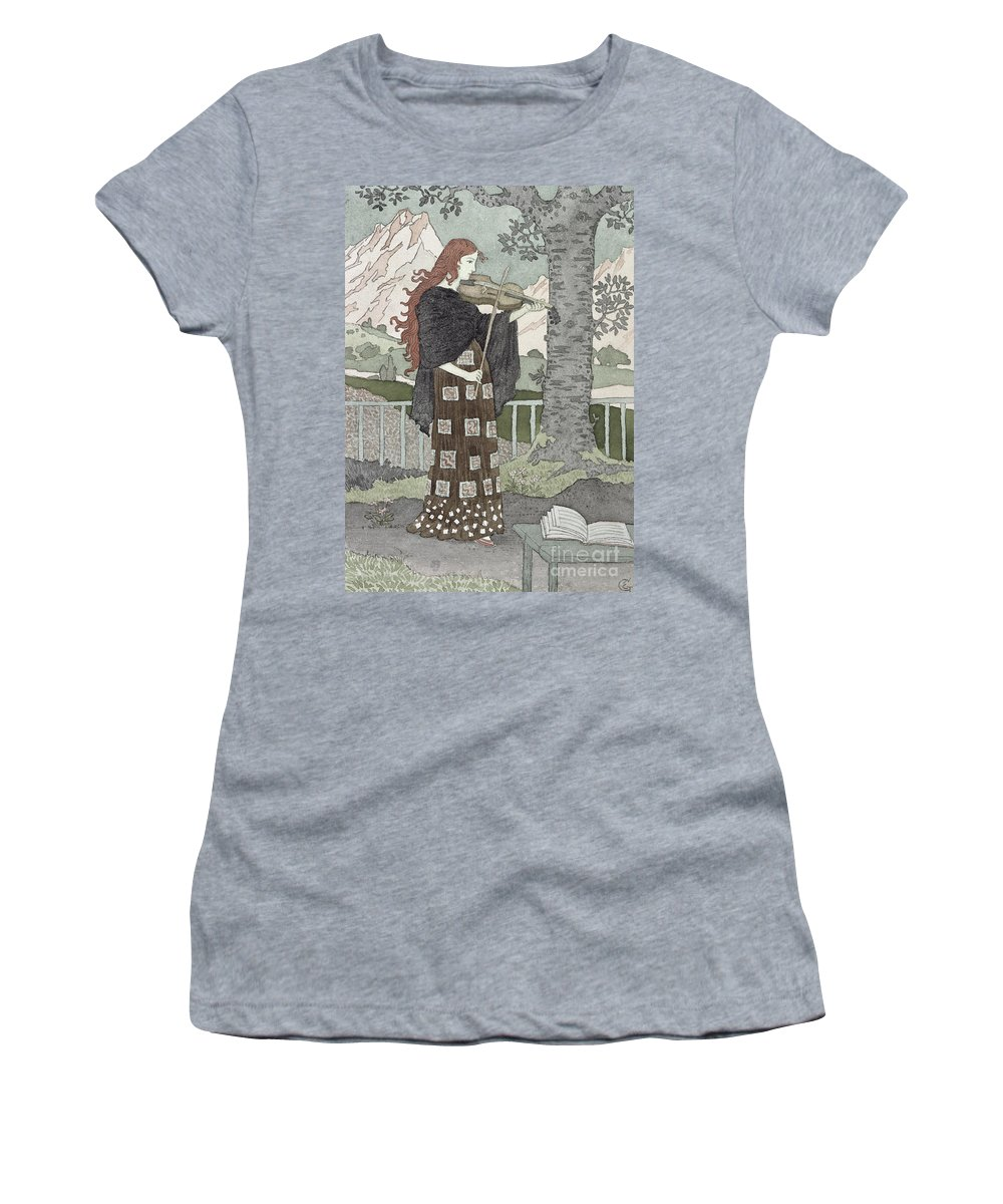 A Musician (w/c On Paper) By Eugene Grasset (1841-1917) Women's T-Shirt (Athletic Fit) featuring the painting A Musician by Eugene Grasset