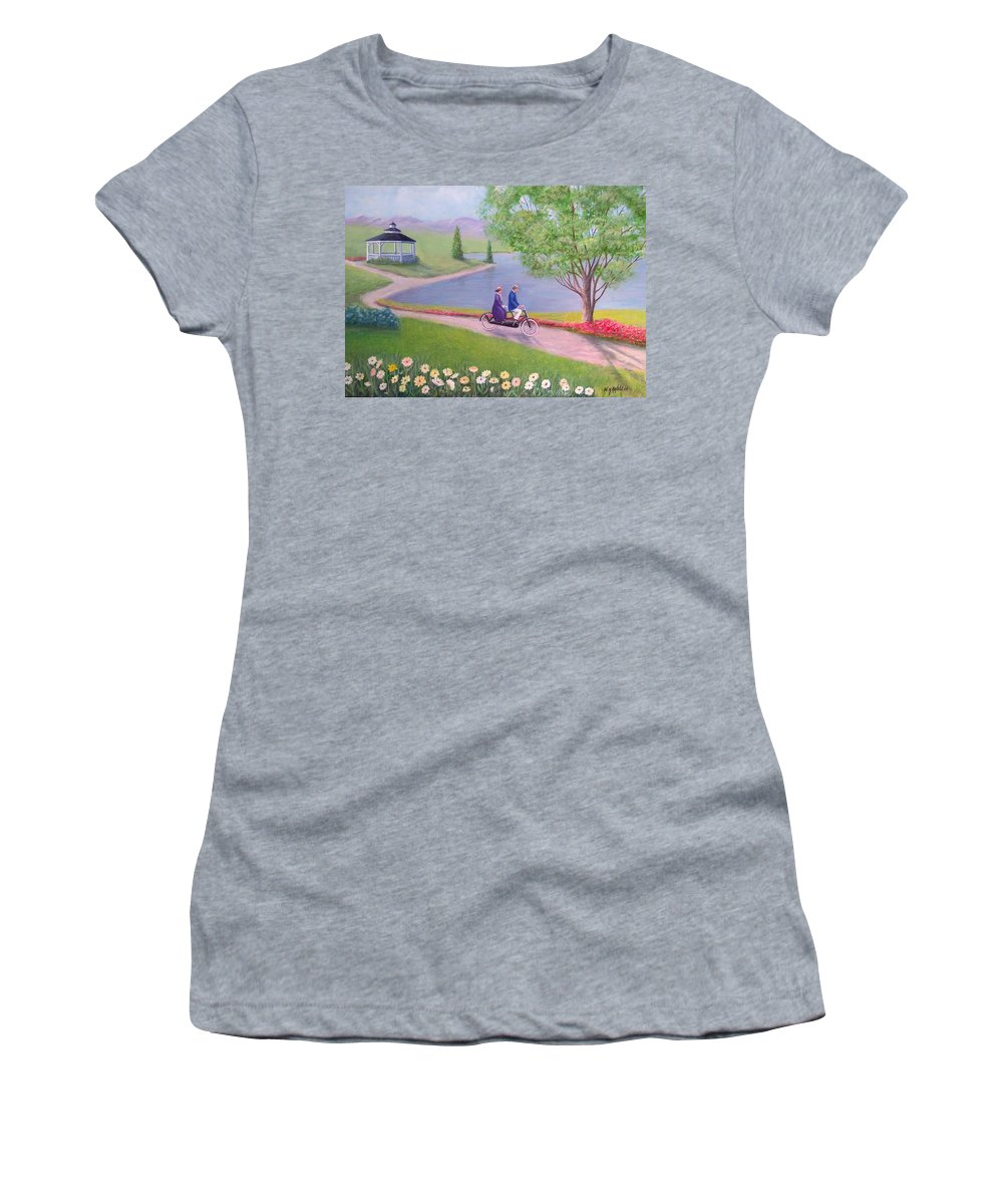 Landscape Women's T-Shirt (Athletic Fit) featuring the painting A Ride In The Park by William H RaVell III