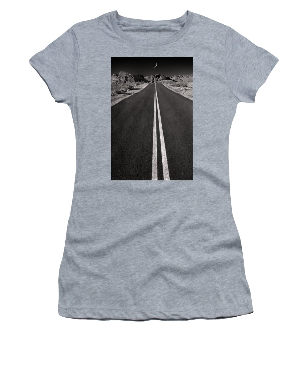 Road Women's T-Shirt featuring the photograph A Road With A Moon by Mike Nellums