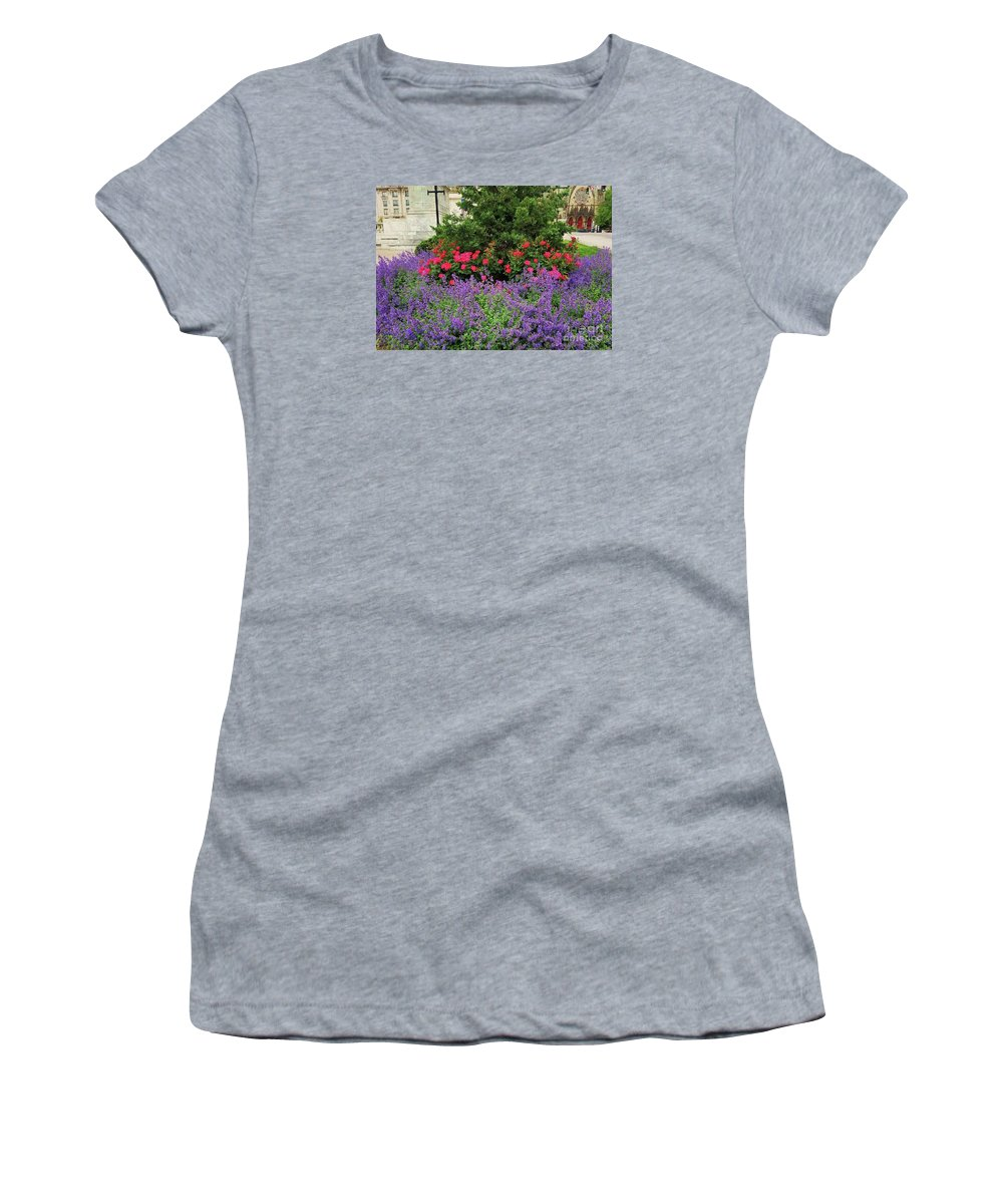 Spring Art Flowers Street Flora Mount Vernon Lilacs Blossoms Greenery Glimpse Of A Landmark Baltimore Historic District Church Doors Outdoors Serene Canvas Print Metal Frame Wood Print Seasonal Colors Available On T Shirts Tote Bags Greeting Cards Duvet Covers Throw Pillows Pouches Weekender Tote Bags Spiral Notebooks And Mugs Women's T-Shirt featuring the photograph A Spring Bouquet From Mount Vernon, Baltimore by Marcus Dagan
